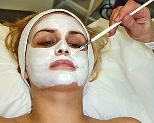 facial mask being applied