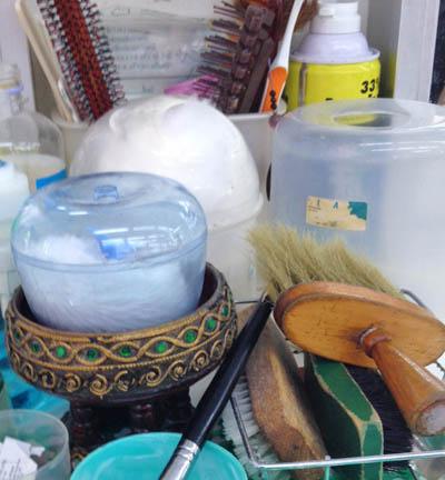 Various tools at a barber salon