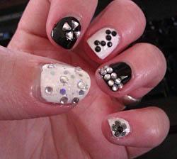 rhinestone embedded fingernails