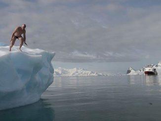 jumping into a frigid ocean