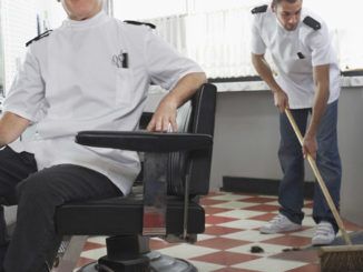 an apprentice usually has to do the dirty work - in barber shops too!